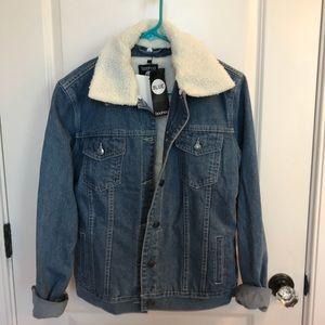 Borg Lined Oversized Denim Jacket